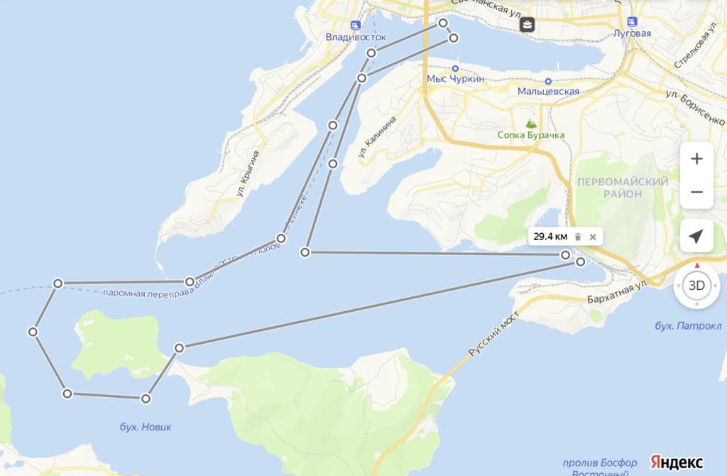 Маршрут морской прогулки во Владивостоке